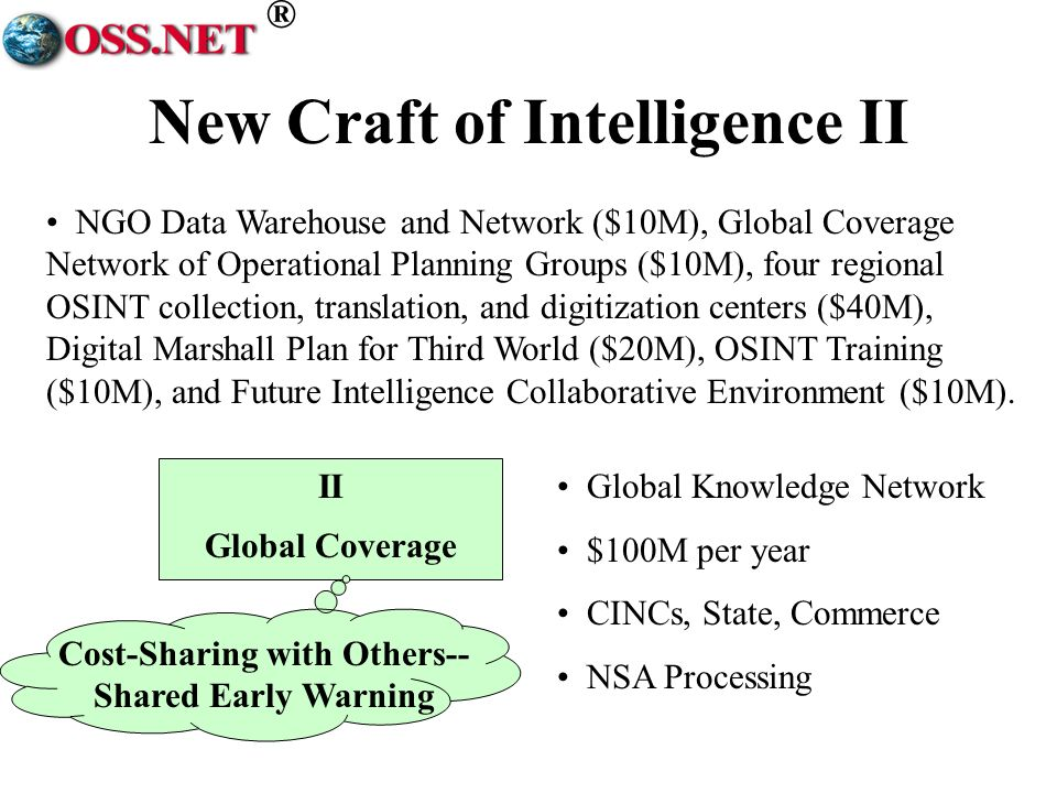 ® New Craft of Intelligence II II Global Coverage Cost-Sharing with Others-- Shared Early Warning Narrowly focused.