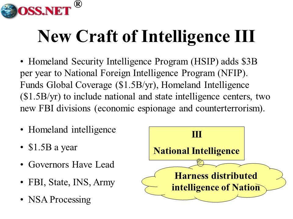 ® New Craft of Intelligence III III National Intelligence Narrowly focused.