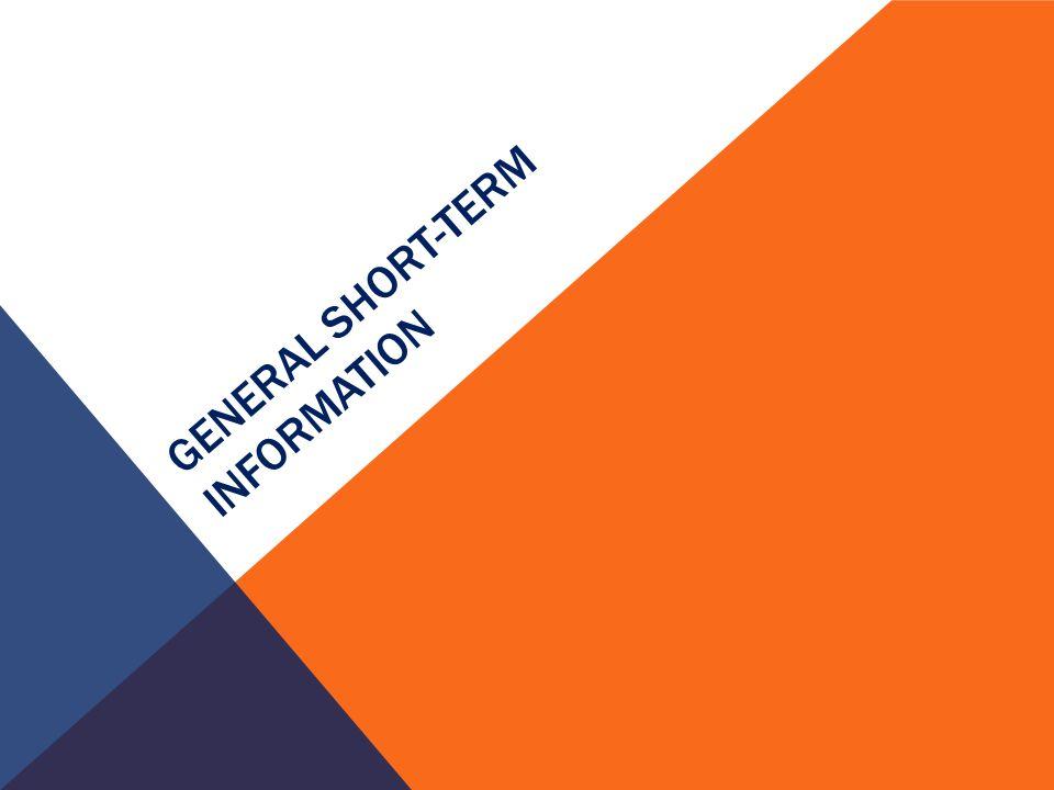 GENERAL SHORT-TERM INFORMATION