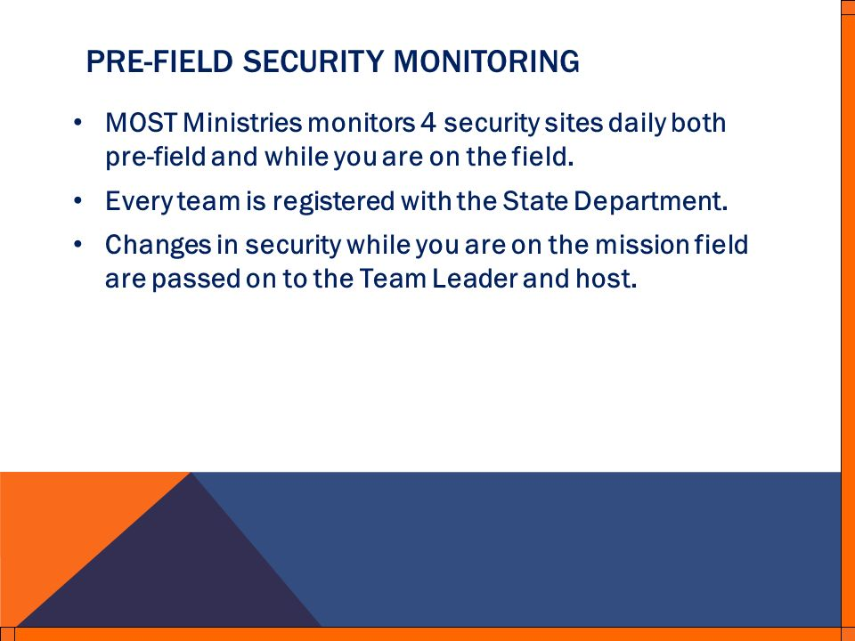 PRE-FIELD SECURITY MONITORING MOST Ministries monitors 4 security sites daily both pre-field and while you are on the field.