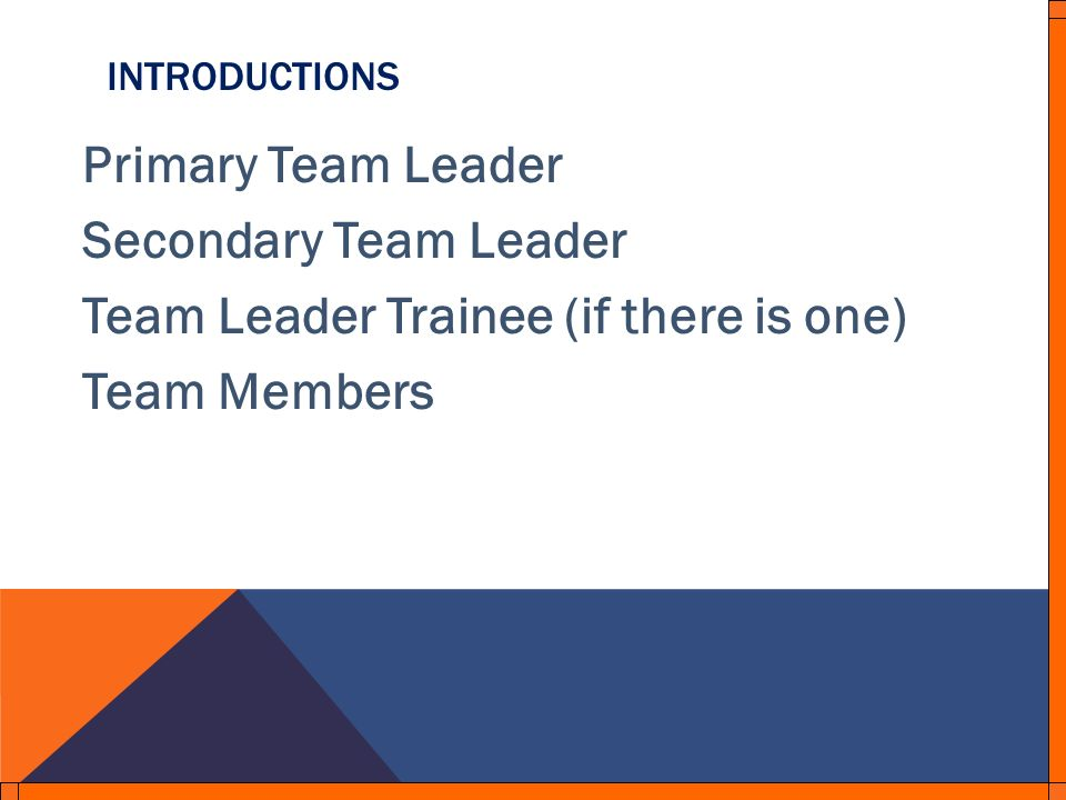 INTRODUCTIONS Primary Team Leader Secondary Team Leader Team Leader Trainee (if there is one) Team Members