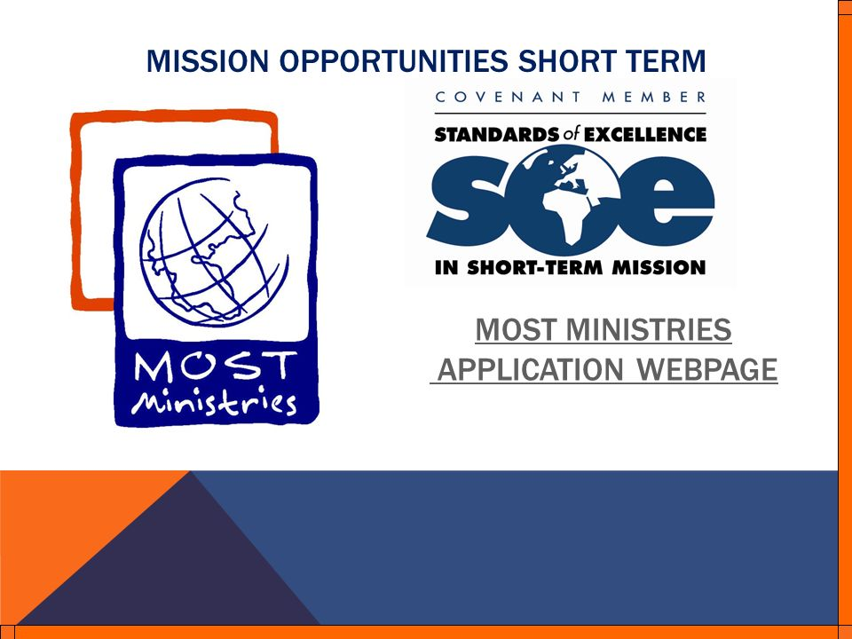 MISSION OPPORTUNITIES SHORT TERM MOST MINISTRIES APPLICATION WEBPAGE