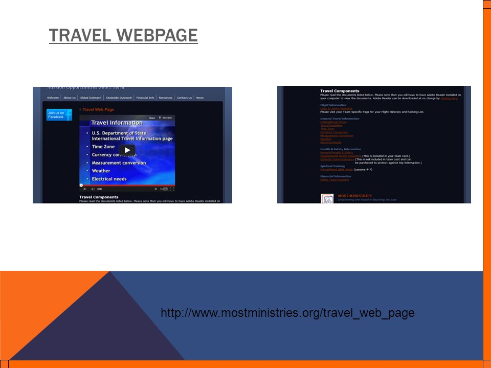 TRAVEL WEBPAGE http://www.mostministries.org/travel_web_page