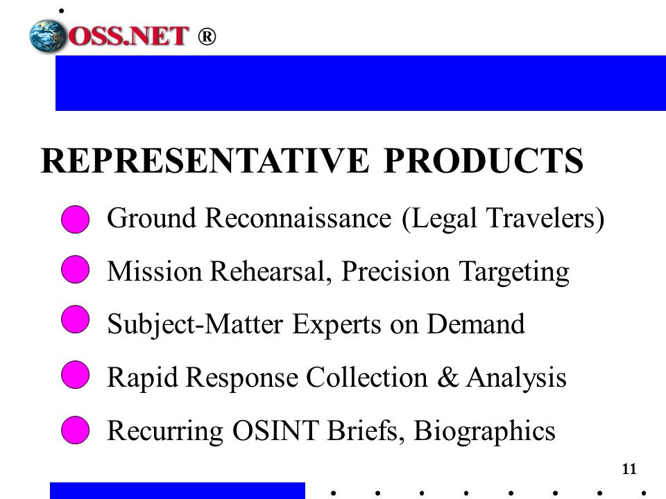 11 REPRESENTATIVE PRODUCTS Ground Reconnaissance (Legal Travelers) Mission Rehearsal, Precision Targeting Subject-Matter Experts on Demand Rapid Response Collection & Analysis Recurring OSINT Briefs, Biographics ®