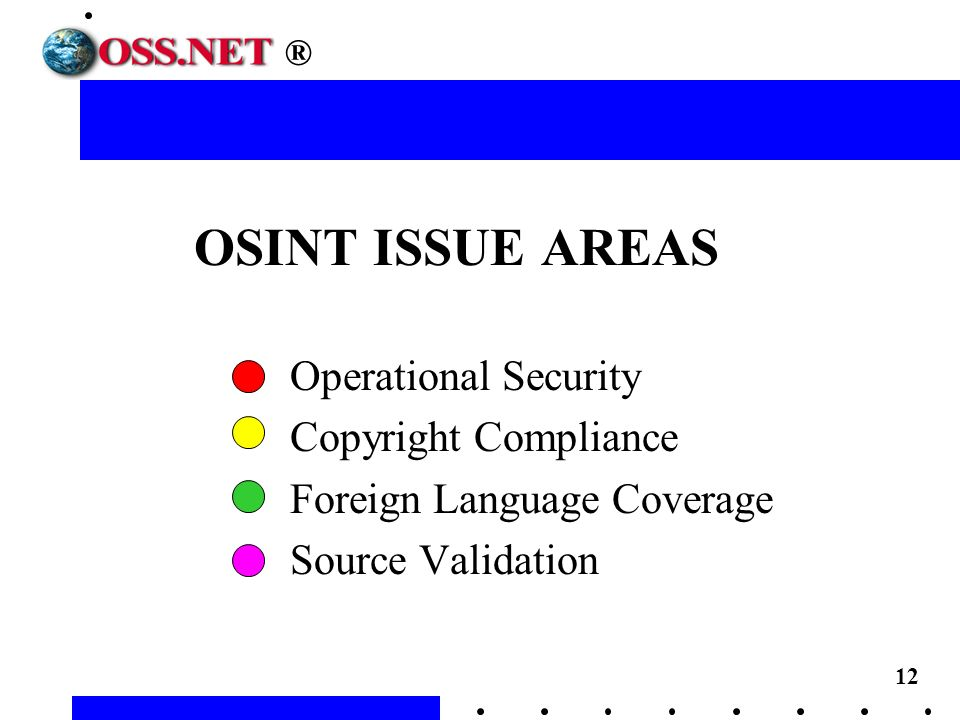 12 OSINT ISSUE AREAS Operational Security Copyright Compliance Foreign Language Coverage Source Validation ®