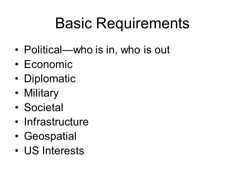 Basic Requirements Politicalwho is in, who is out Economic Diplomatic Military Societal Infrastructure Geospatial US Interests