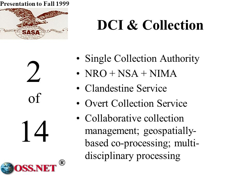 ® Presentation to Fall 1999 1 of 14 DCI & Money NRO 6.4B CCP 3.4B GDIP 2.0B CIA 3.2B Other 1.4B DARO 1.7B (Hidden) NIMA.8B DIA 0.6B.