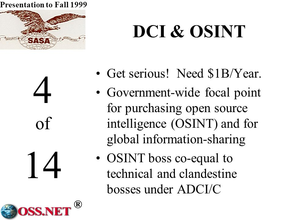 ® Presentation to Fall 1999 3 of 14 DCI & Analysis Fund mid-career expert hires Create civilian expert reserve Increase NIC to 60 Billets Chair, Vice Chair, 3 Support NIO Teams (NIO, DNIO, 3 ANIO per Group) Foreign Affairs Military Defense Finance & Commerce Law & Order Ecology & Culture ANIO Specialists (2 per Issue Area) WMDGP ForceCrimeTerrorCyberwar PoliticalEconomicCulturalS&T Geography 10 Dedicated Support Specialists