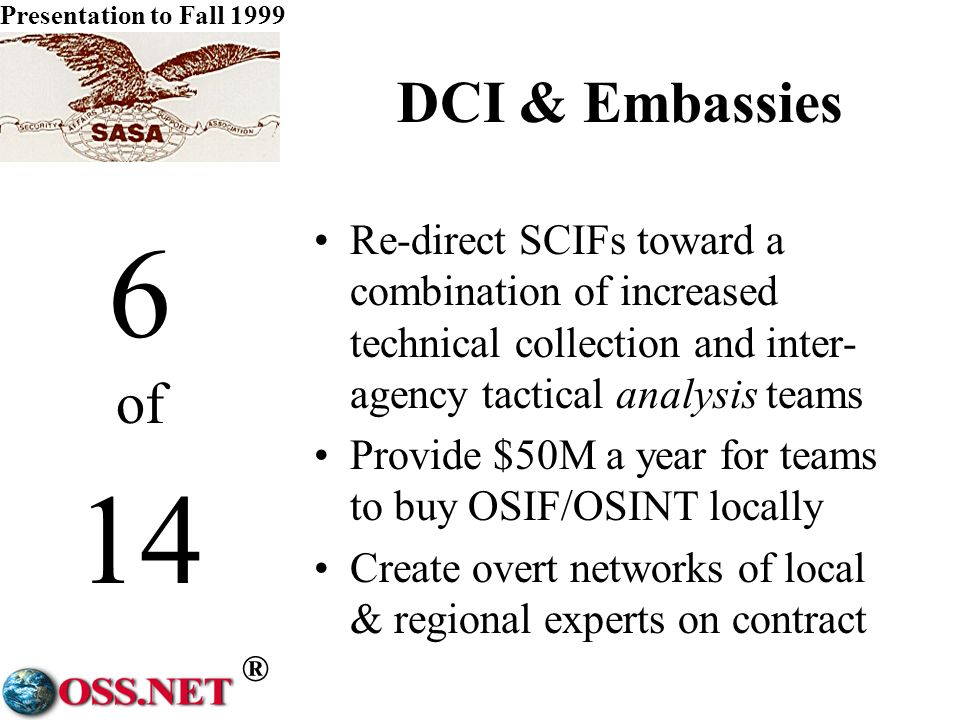 ® Presentation to Fall 1999 5 of 14 DCI & CIA Put Central back into the CIA with DDCI/CM running inter-agency operations for: –financial –personnel & security –training –S&T R&D –public & congressional liaison