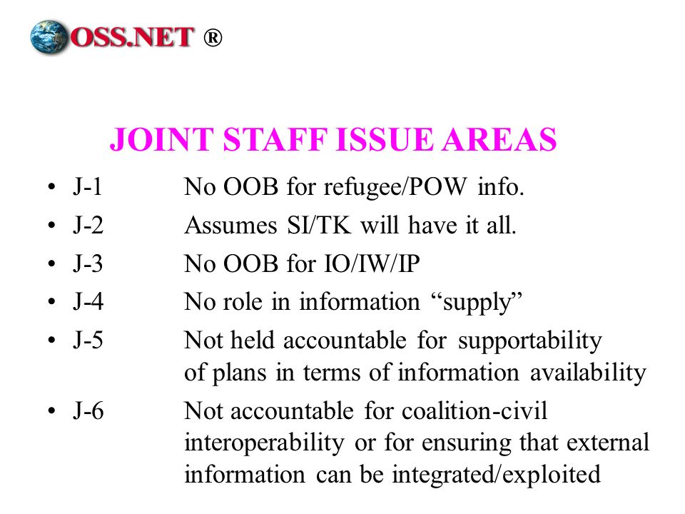 J-1No OOB for refugee/POW info. J-2Assumes SI/TK will have it all. J-3No OOB for IO/IW/IP J-4No role in information supply J-5Not held accountable for