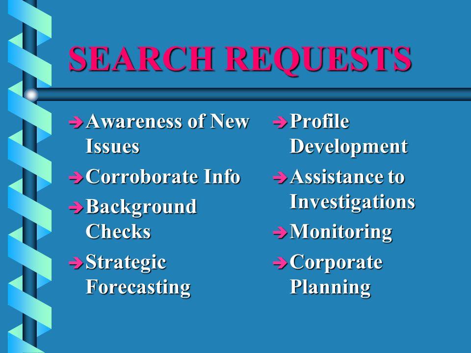 SEARCH REQUESTS è Awareness of New Issues è Corroborate Info è Background Checks è Strategic Forecasting è Profile Development è Assistance to Investi