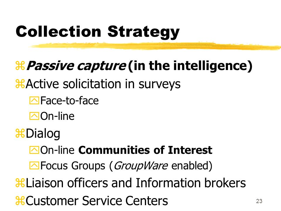 23 Collection Strategy zPassive capture (in the intelligence) zActive solicitation in surveys yFace-to-face yOn-line zDialog yOn-line Communities of I