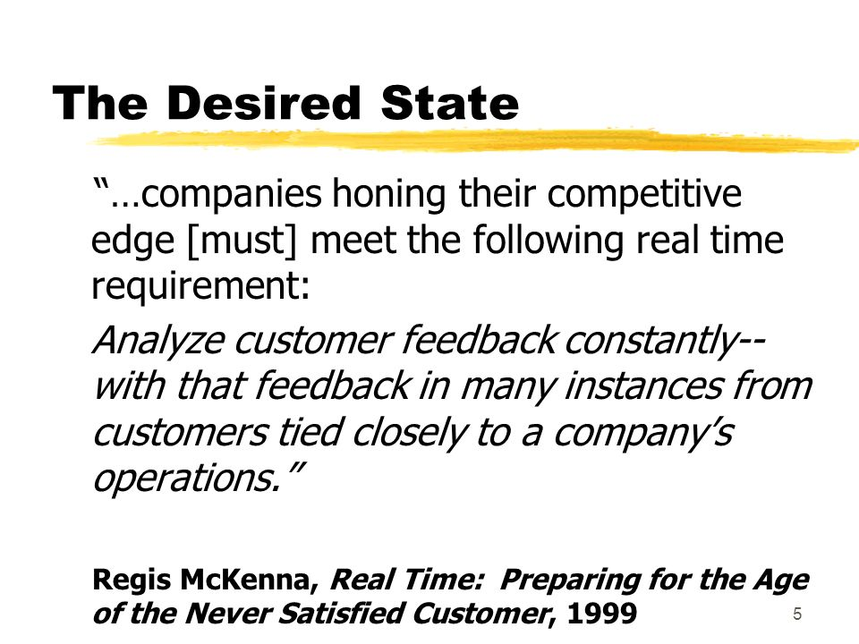 5 The Desired State …companies honing their competitive edge [must] meet the following real time requirement: Analyze customer feedback constantly-- with that feedback in many instances from customers tied closely to a companys operations.
