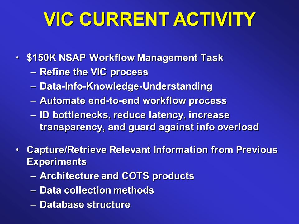 VIC CURRENT ACTIVITY $150K NSAP Workflow Management Task$150K NSAP Workflow Management Task –Refine the VIC process –Data-Info-Knowledge-Understanding –Automate end-to-end workflow process –ID bottlenecks, reduce latency, increase transparency, and guard against info overload Capture/Retrieve Relevant Information from Previous ExperimentsCapture/Retrieve Relevant Information from Previous Experiments –Architecture and COTS products –Data collection methods –Database structure