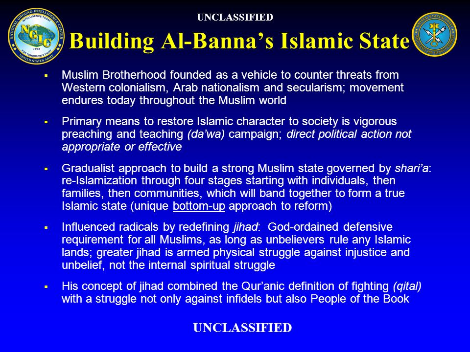 Building Al-Bannas Islamic State Muslim Brotherhood founded as a vehicle to counter threats from Western colonialism, Arab nationalism and secularism;