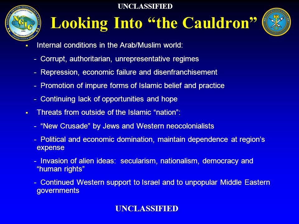 Looking Into the Cauldron Internal conditions in the Arab/Muslim world: - Corrupt, authoritarian, unrepresentative regimes - Repression, economic fail