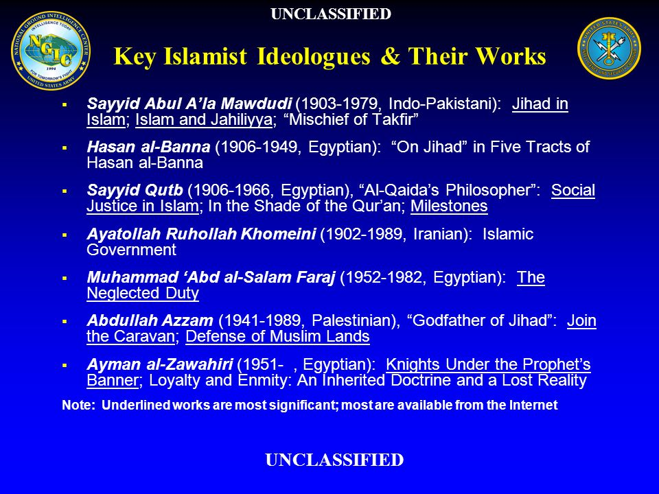 Reinterpretation of Concepts Jahiliyya: early pagan ignorance -> modern willful disbelief Takfir: condemnation as an apostate -> means to justify jihad against un-Islamic governments Hakimiyya: ideal governance by God -> unjust sovereignty of man over men, which leads to oppression and injustice Hijra: early migration to avoid persecution -> moral/physical separation from jahili society (required to strengthen movement) Jihad: Spiritual/internal battle, defensive, communal obligation -> physical battle, offensive, individual duty for all Muslims Near enemy first (Faraj) vs.