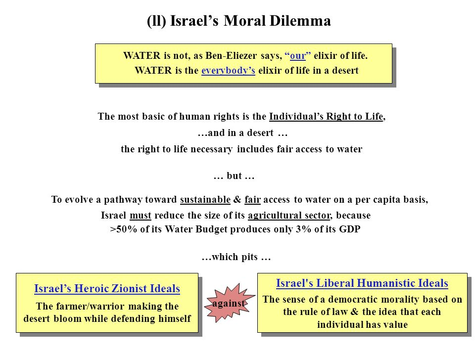 (ll) Israels Moral Dilemma WATER is not, as Ben-Eliezer says, our elixir of life.