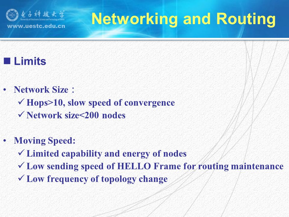 Limits Network Size Hops>10, slow speed of convergence Network size<200 nodes Moving Speed: Limited capability and energy of nodes Low sending speed of HELLO Frame for routing maintenance Low frequency of topology change