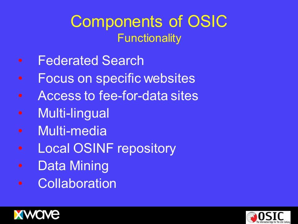 Components of OSIC Functionality Federated Search Focus on specific websites Access to fee-for-data sites Multi-lingual Multi-media Local OSINF reposi
