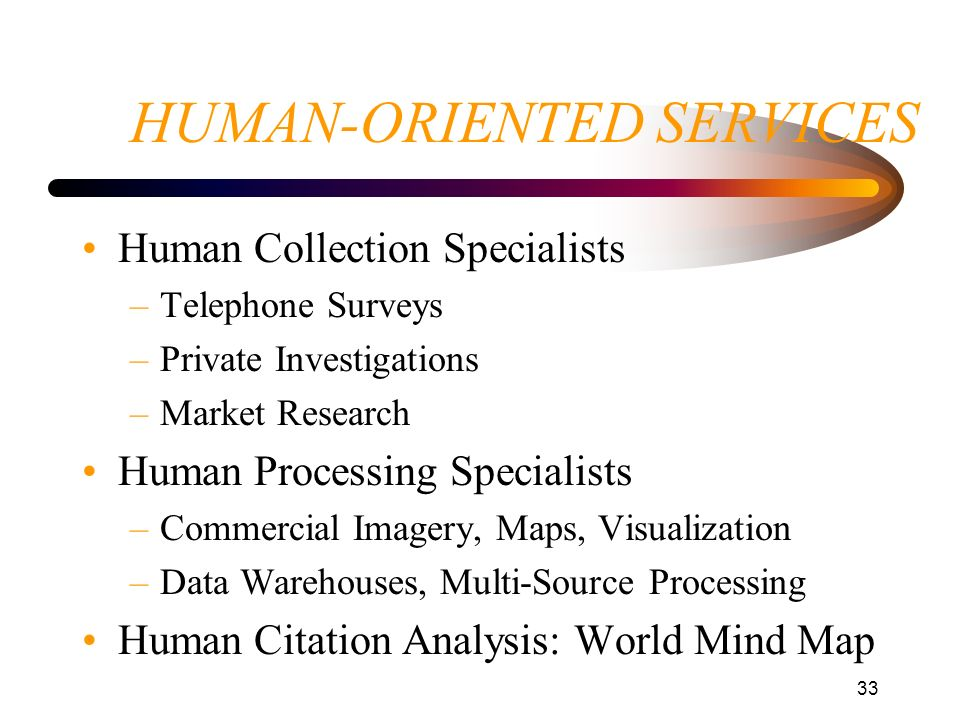 33 HUMAN-ORIENTED SERVICES Human Collection Specialists –Telephone Surveys –Private Investigations –Market Research Human Processing Specialists –Comm