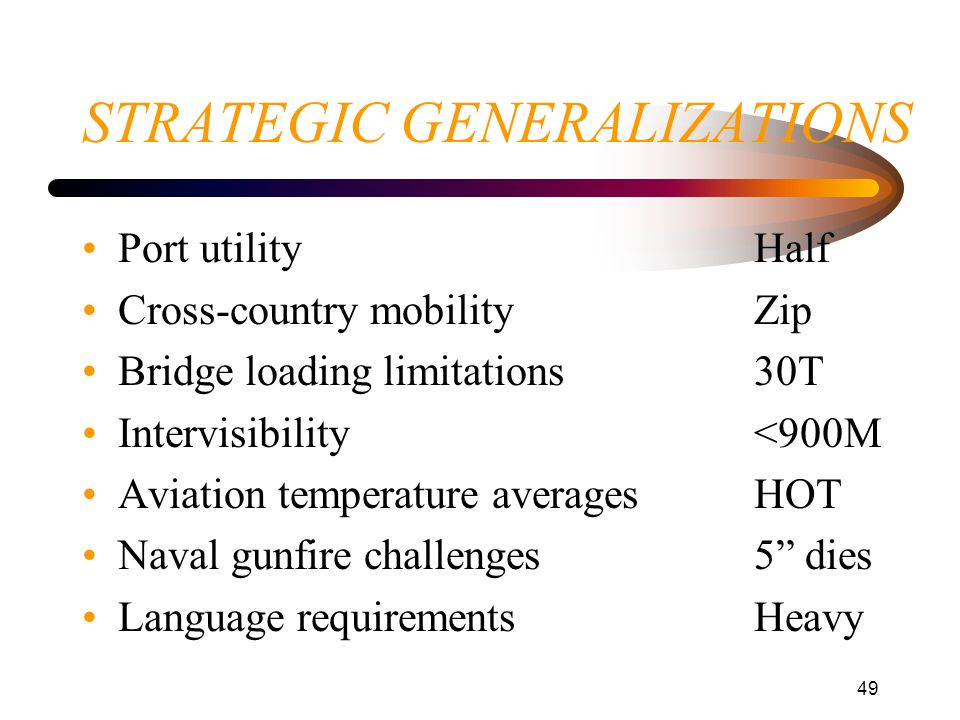49 STRATEGIC GENERALIZATIONS Port utilityHalf Cross-country mobilityZip Bridge loading limitations30T Intervisibility<900M Aviation temperature averag