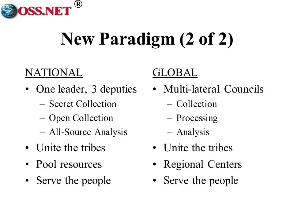 ® New Paradigm (2 of 2) NATIONAL One leader, 3 deputies –Secret Collection –Open Collection –All-Source Analysis Unite the tribes Pool resources Serve the people GLOBAL Multi-lateral Councils –Collection –Processing –Analysis Unite the tribes Regional Centers Serve the people
