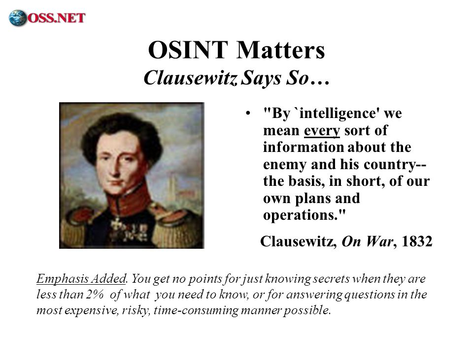 ® OSINT Matters Clausewitz Says So…