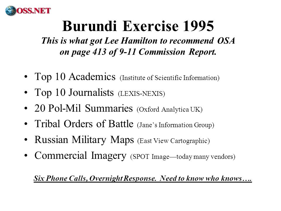 ® Burundi Exercise 1995 This is what got Lee Hamilton to recommend OSA on page 413 of 9-11 Commission Report. Top 10 Academics (Institute of Scientifi