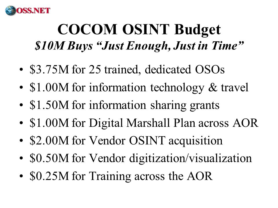 ® COCOM OSINT Budget $10M Buys Just Enough, Just in Time $3.75M for 25 trained, dedicated OSOs $1.00M for information technology & travel $1.50M for i
