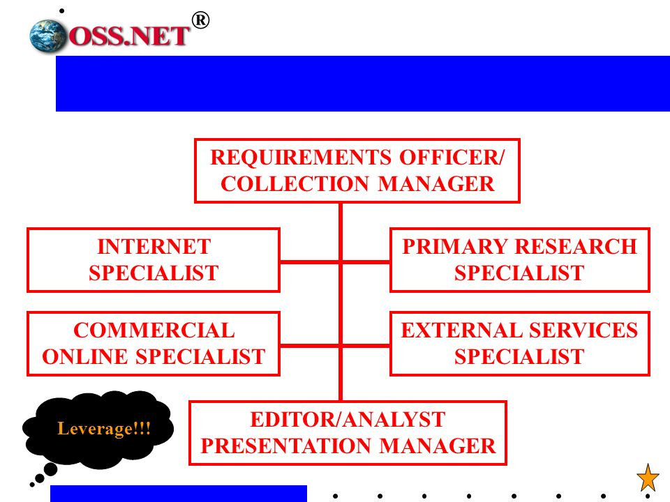 REQUIREMENTS OFFICER/ COLLECTION MANAGER INTERNET SPECIALIST COMMERCIAL ONLINE SPECIALIST PRIMARY RESEARCH SPECIALIST EXTERNAL SERVICES SPECIALIST EDITOR/ANALYST PRESENTATION MANAGER Leverage!!.