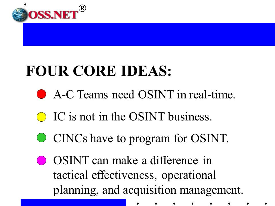 FOUR CORE IDEAS: A-C Teams need OSINT in real-time.