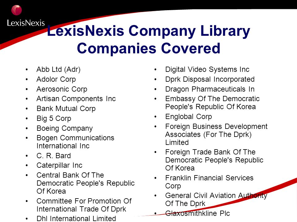 LexisNexis Company Library Companies Covered Abb Ltd (Adr) Adolor Corp Aerosonic Corp Artisan Components Inc Bank Mutual Corp Big 5 Corp Boeing Compan