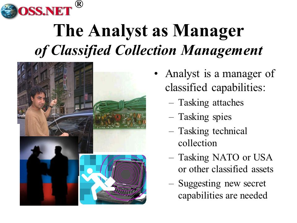® The Analyst as Manager of Classified Collection Management Analyst is a manager of classified capabilities: –Tasking attaches –Tasking spies –Tasking technical collection –Tasking NATO or USA or other classified assets –Suggesting new secret capabilities are needed