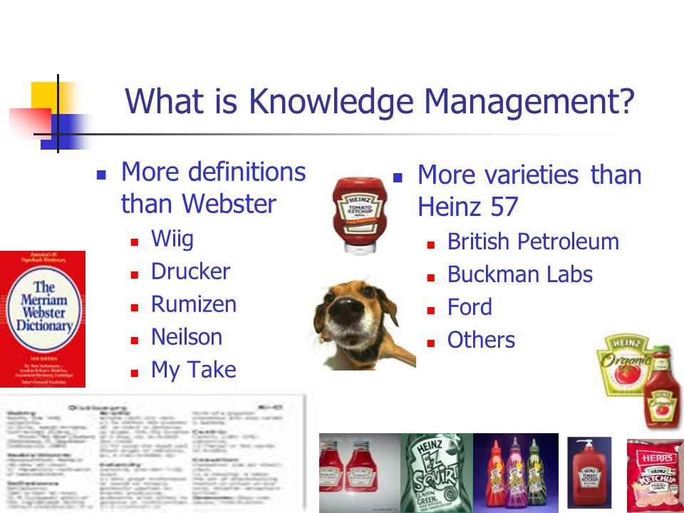 What is Knowledge Management? More definitions than Webster Wiig Drucker Rumizen Neilson My Take More varieties than Heinz 57 British Petroleum Buckma
