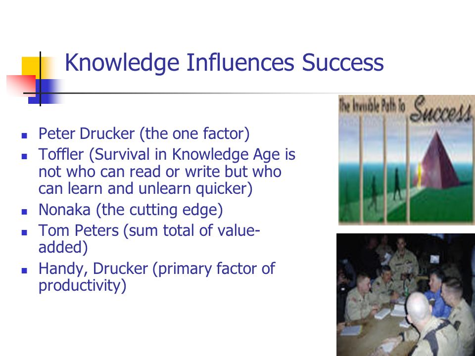 Knowledge Influences Success Peter Drucker (the one factor) Toffler (Survival in Knowledge Age is not who can read or write but who can learn and unle