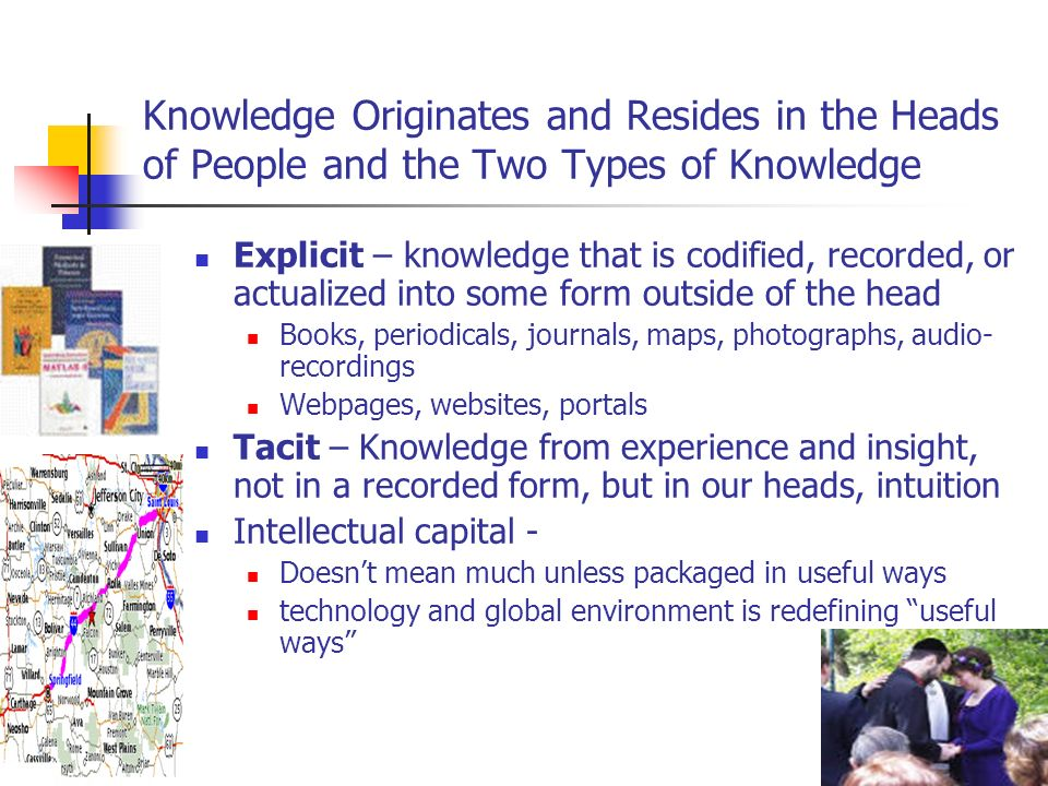 Technology Enables New Knowledge Behaviors Technology shapes how we live (radio, television, computer, biotechnology) Pushes KM, doesnt drive it Facilitates flow of knowledge One look, one feel Easy access Easy dissemination (push-pull) Different storage (from paper to digits)