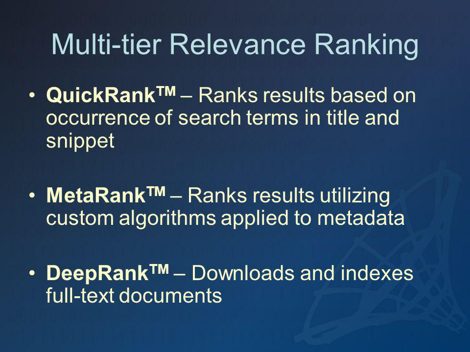Multi-tier Relevance Ranking QuickRank TM – Ranks results based on occurrence of search terms in title and snippet MetaRank TM – Ranks results utilizi