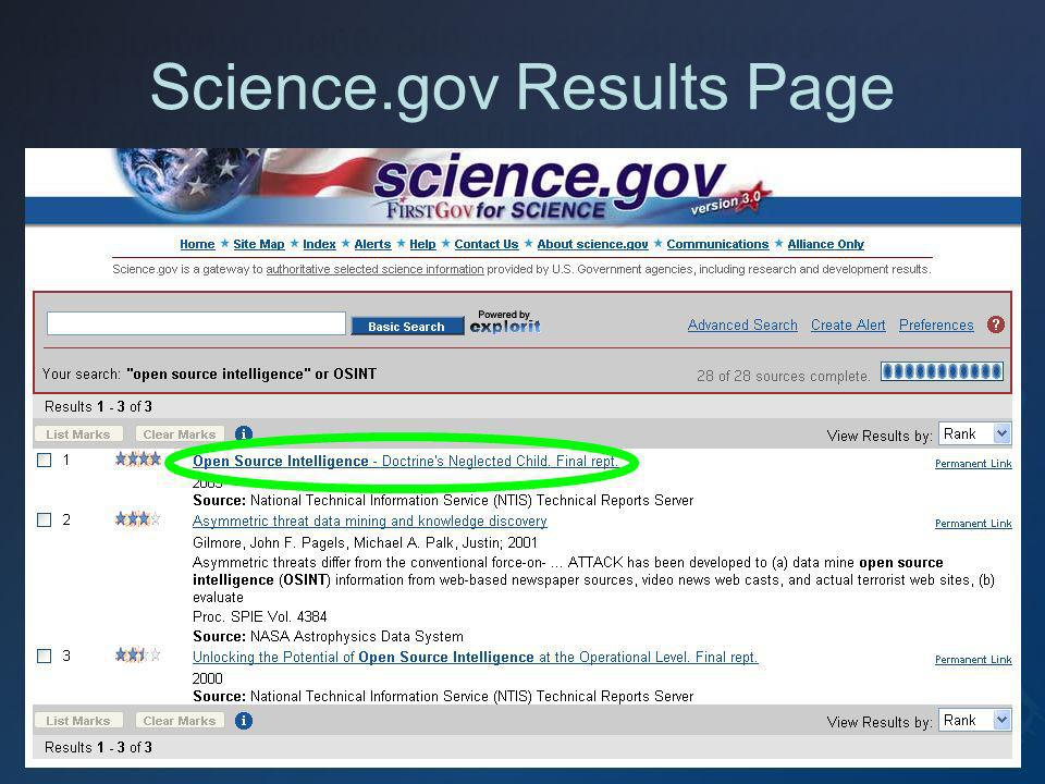 Science.gov Results Page