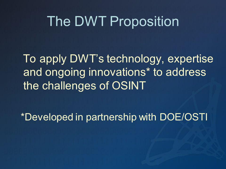 The DWT Proposition To apply DWTs technology, expertise and ongoing innovations* to address the challenges of OSINT *Developed in partnership with DOE/OSTI