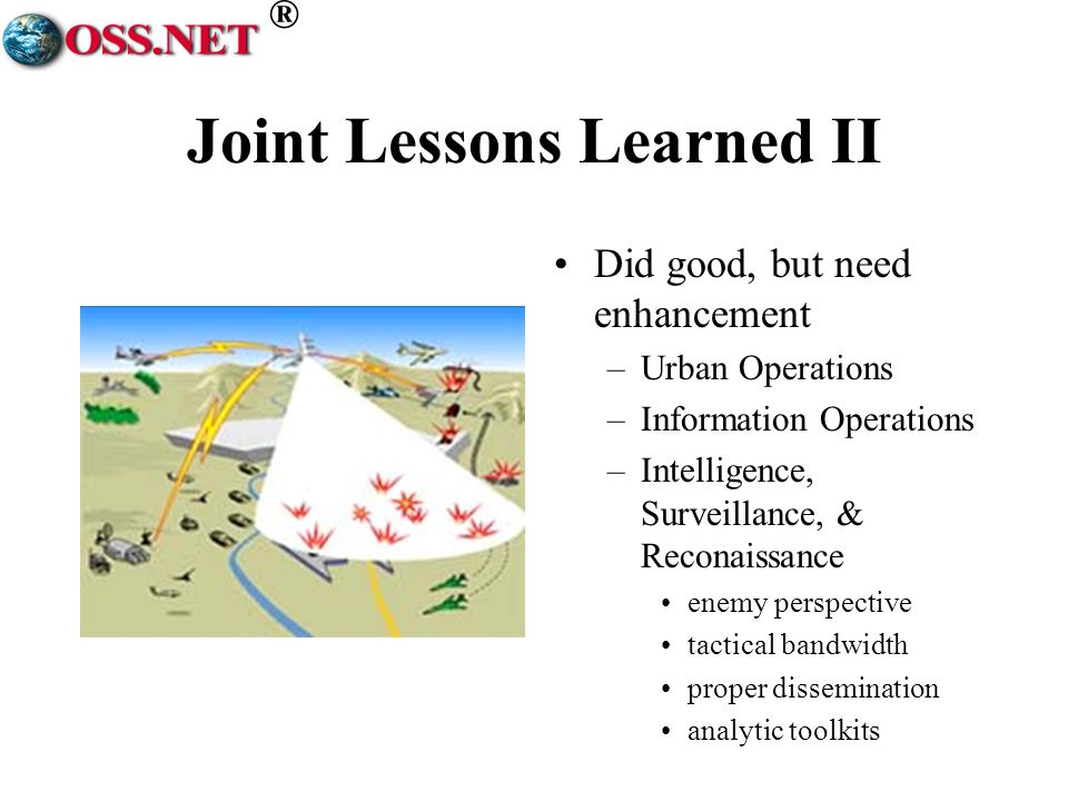 ® Joint Lessons Learned II Did good, but need enhancement –Urban Operations –Information Operations –Intelligence, Surveillance, & Reconaissance enemy