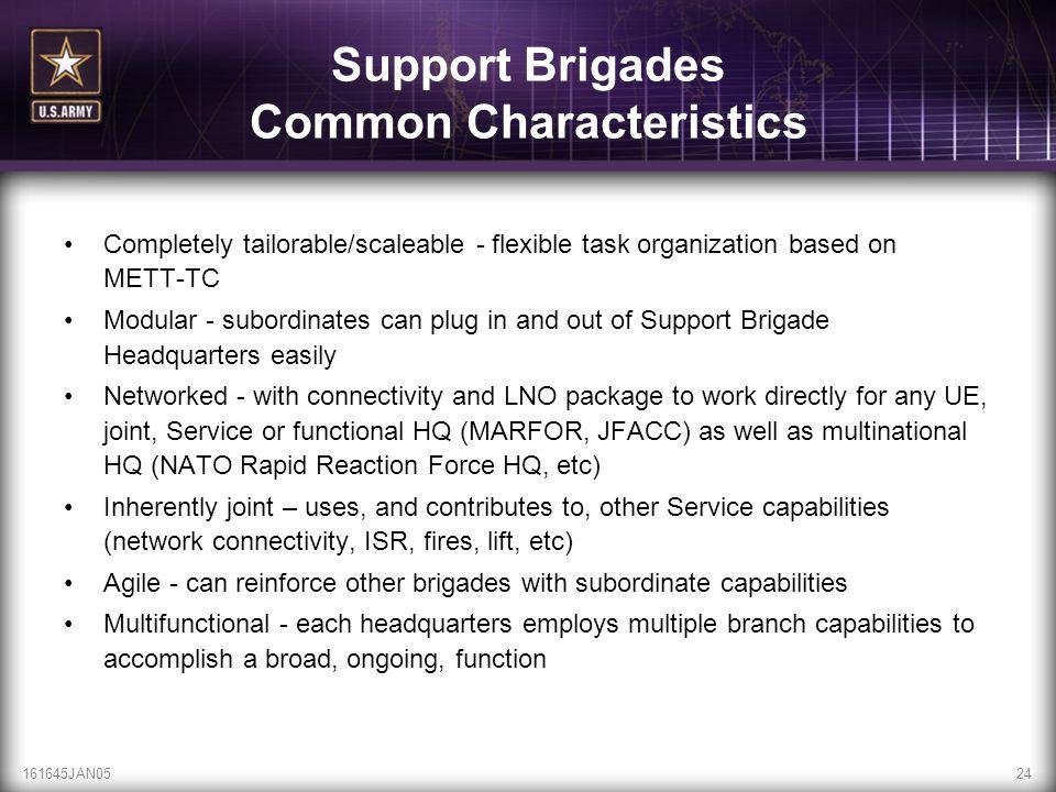 161645JAN0524 Support Brigades Common Characteristics Completely tailorable/scaleable - flexible task organization based on METT-TC Modular - subordin