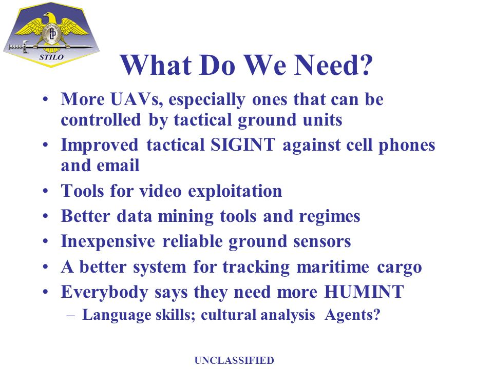 What Do We Need? More UAVs, especially ones that can be controlled by tactical ground units Improved tactical SIGINT against cell phones and email Too