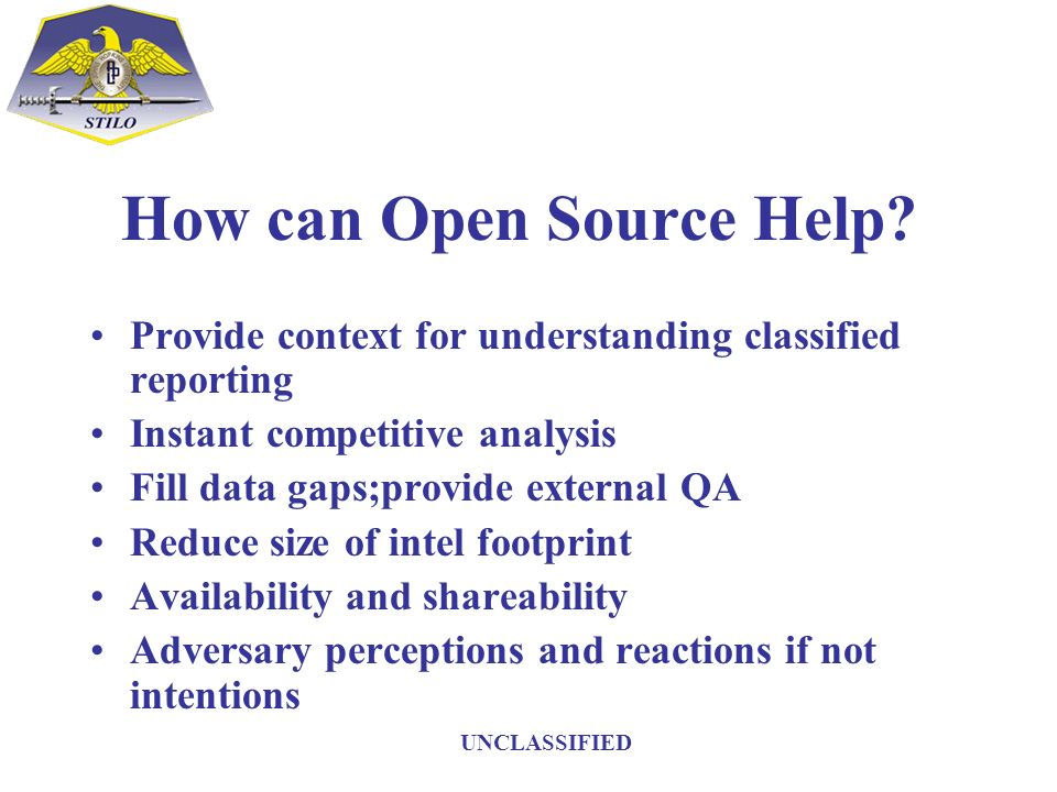 How can Open Source Help? Provide context for understanding classified reporting Instant competitive analysis Fill data gaps;provide external QA Reduc