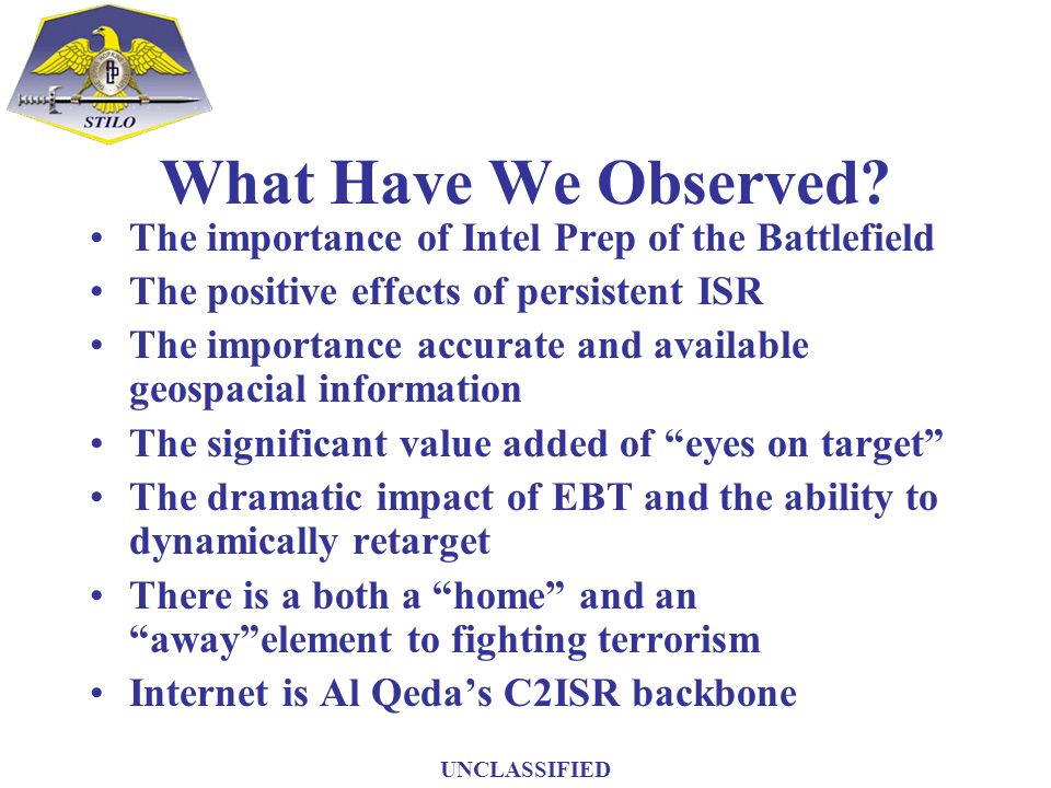 What Have We Observed? The importance of Intel Prep of the Battlefield The positive effects of persistent ISR The importance accurate and available ge