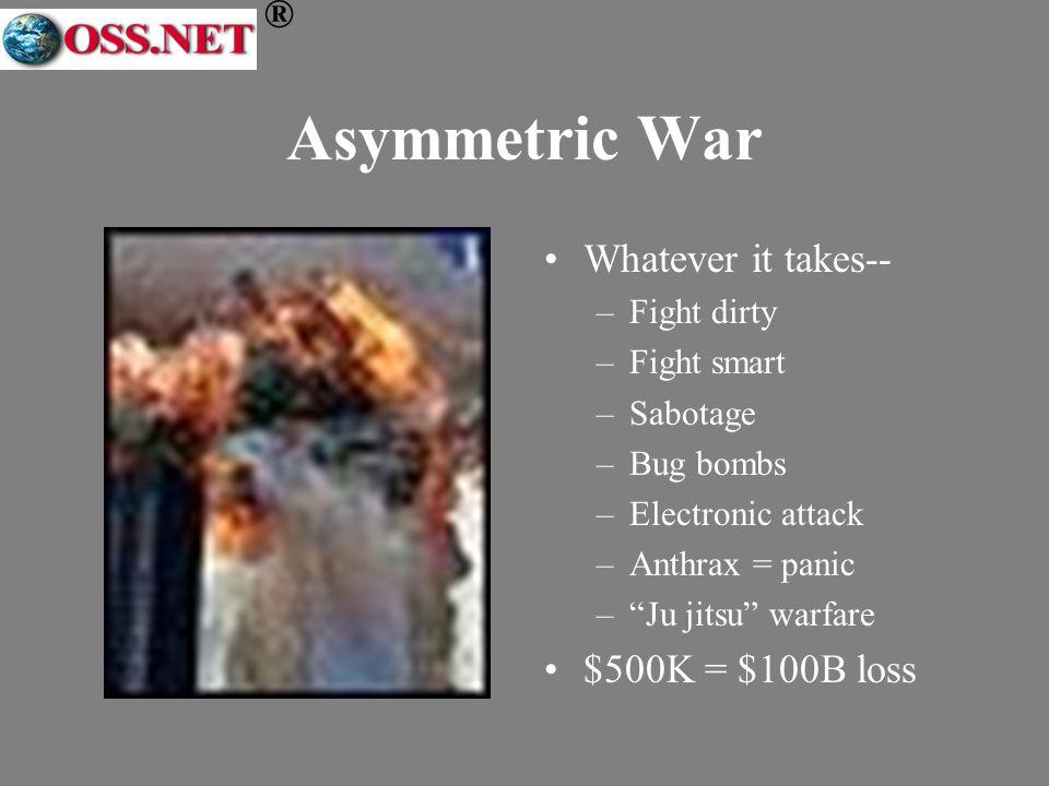 ® Asymmetric War Whatever it takes-- –Fight dirty –Fight smart –Sabotage –Bug bombs –Electronic attack –Anthrax = panic –Ju jitsu warfare $500K = $100