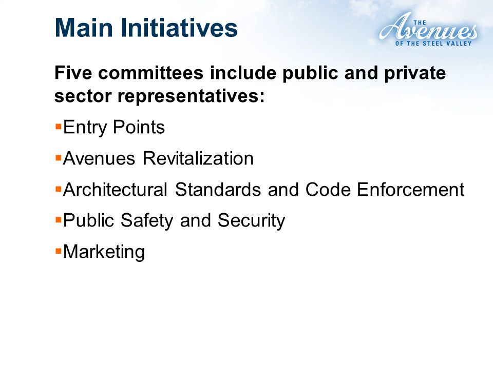 Main Initiatives Five committees include public and private sector representatives: Entry Points Avenues Revitalization Architectural Standards and Code Enforcement Public Safety and Security Marketing