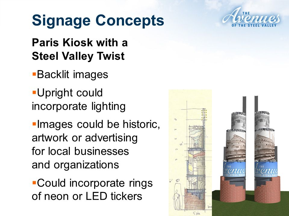Paris Kiosk with a Steel Valley Twist Backlit images Upright could incorporate lighting Images could be historic, artwork or advertising for local businesses and organizations Could incorporate rings of neon or LED tickers