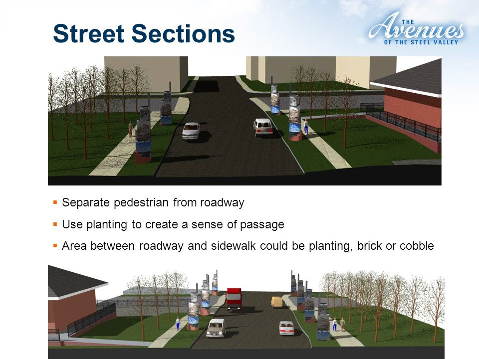 Street Sections Separate pedestrian from roadway Use planting to create a sense of passage Area between roadway and sidewalk could be planting, brick or cobble