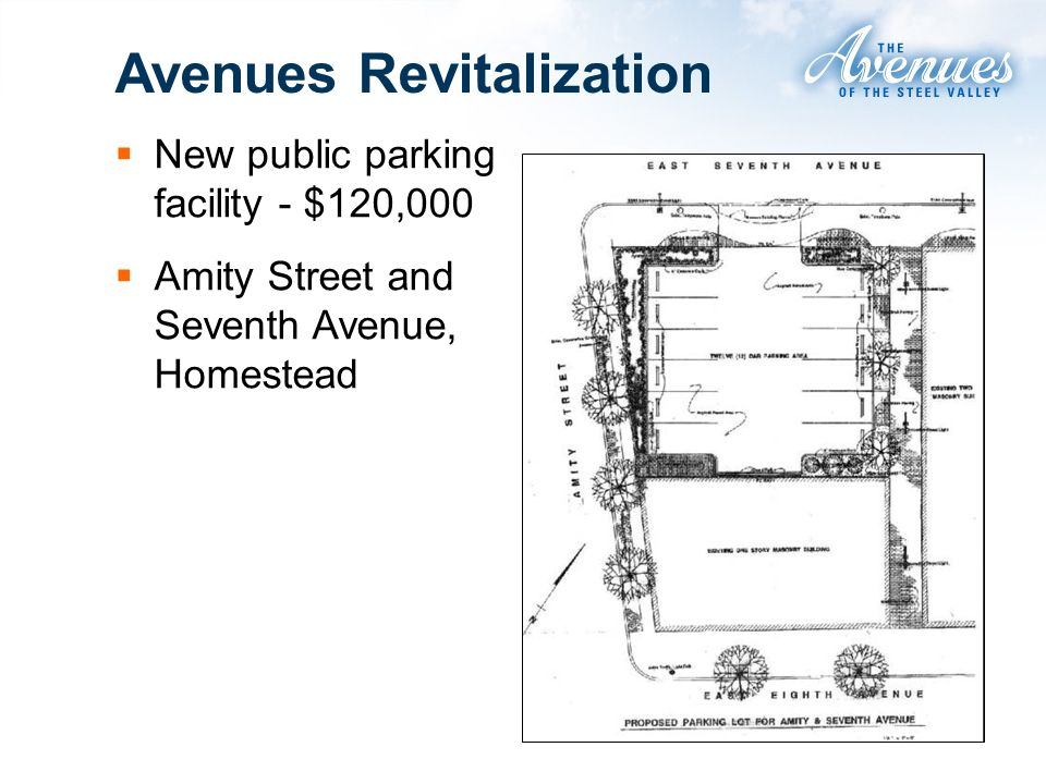 Avenues Revitalization New public parking facility - $120,000 Amity Street and Seventh Avenue, Homestead